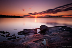 A long moment of sunrise (Rob Orthen) Tags: longexposure pink sea summer sky sun clouds sunrise suomi finland landscape dawn nikon rocks europe purple august rob nd scandinavia meri maisema archipelago kes d300 saaristo elokuu korppoo turunsaaristo 175528 orthen bratanesque roborthenphotography rengastie saaristonrengastie punainentaivas
