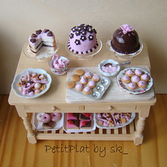 Miniature Food Pink Tea Party! (PetitPlat - Stephanie Kilgast) Tags: pink flowers food flower cakes cookies rose cake miniature cupcakes sweet chocolate board sugar cupcake dome sweets icing minifood muffin preparation collectibles frosting minis dollhouse dollshouse miniaturen oneinchscale petitplat