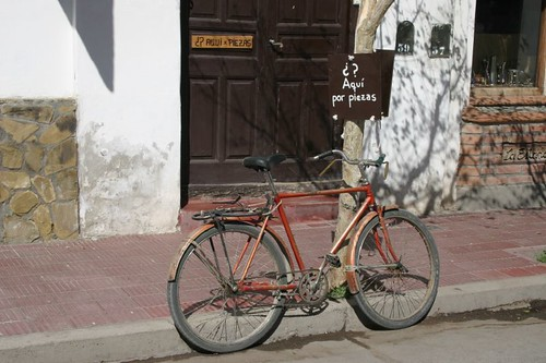 Bike parked in Cafayate, NW Argentina.