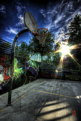 Basketball dreams (@!ex) Tags: sun basketball clouds graffiti colorado pentax denver handheld hdr aficionados sigma1020mm pentaxk10d colourartaward alexbenison