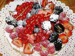 Fruit of the Gods, Milan , Italy (moonjazz) Tags: red italy food white black milan art window fruit contrast cherry dessert strawberry berries blackberry sweet fine plate best sugar eat slice shops presentation treat taste expensive perfection powdered arrange 5photosaday colourartaward visontea