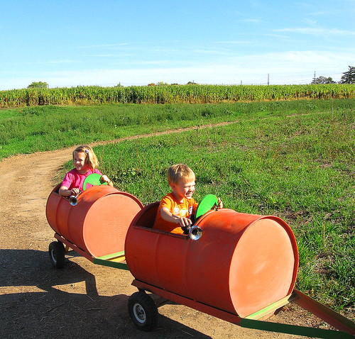 kids pumpkin ride by T. Scharnberger
