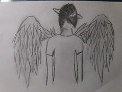 angel. (pippa luna) Tags: boy angel pencil wings sad drawing emo halo shading