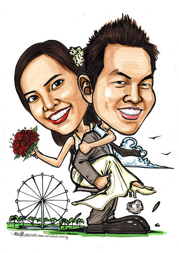 Couple wedding caricatures at Singapore Flyer