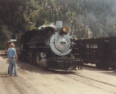 Durango & Silverton Railroad steam locomotive # 481 arriving at Silverton Colorado. July 1981.