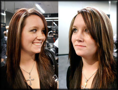 Straight,thick, dark brown hair (natural red and blond highlights depending