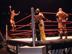 Randy Orton poses for Rey Mysterio and Dave Batista (nWoSyxx) Tags: world show red house sports animal yellow dave night radio pose newcastle geotagged is hands war raw tour pants metro live wrestling posing evolution jr cocky tyne ring arena hips event entertainment rey randy trousers series heel ropes monday 619 2008 wwe federation survivor wwf upon orton newcastleupontyne randyorton mysterio jnr reymysterio on the batista houseshow telewest rko liveevent metroradioarena davebatista turnbuckles of telewestarena