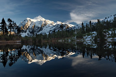 snowy shuksan (Mike Hornblade) Tags: mountain snow reflection clouds landscape washington bluesky cascades northcascades mtshuksan mtbakerskiarea picturelake mountainreflection d700 shackseasonalfall08 alpinelalke