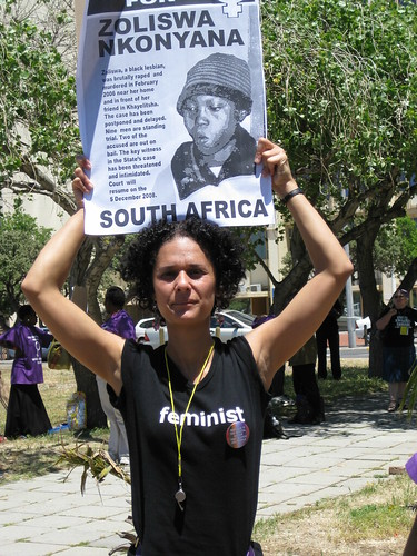 Woman in feminist tee shirt at One in Nine Campaign March