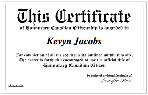 Honourary Canadian Citizenship certificate