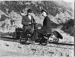 William Williams on a railway jigger, rabbit hunting in Otago, ca 1900 (National Library NZ on The Commons) Tags: newzealand railway moustache bowlerhat otago jigger rabbithunting steampunk cluthariver cromwellgorge nationallibrarynz commons:event=commonground2009 geo:locality=otago