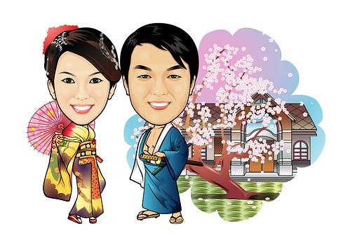 Q-Digital caricature - Kimono setting