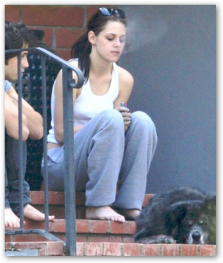 Michael Angarano Smokes Pipe after Kristen. Kristen Stewart Exhales Cloud of