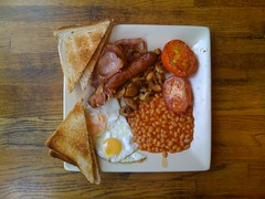 My 1st full english (lomokev) Tags: wood england food english breakfast tomato mushrooms bacon cafe beans brighton unitedkingdom egg sausage plate full friedegg fryup opposition thelanes iphone fullenglish breakie oppositioncafe airme