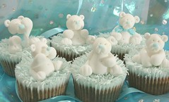 Teddies for a Christening (Grace Stevens) Tags: pink flowers blue girls cakes boys cupcakes pretty chocolate capetown decorating christening teddies fondant buttercream gracescakes