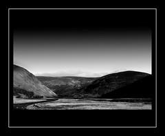 Coignafearn (prajpix) Tags: wild blackandwhite mountains nature river landscape mono scotland highlands shadows manipulation hills coignafearn
