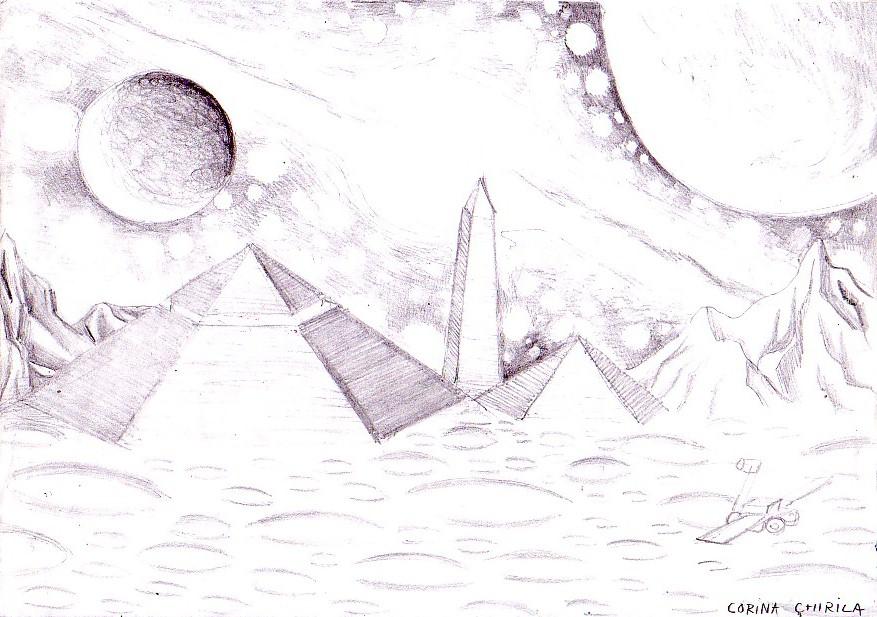 Zona Cydonia de pe Marte, desen
