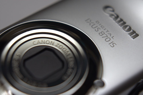 A Canon IXUS 870 point and shoot camera up close