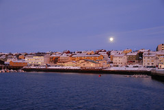 December moon (GeirB,) Tags: blue winter light norway dark norge nikon december blues myfavorite nikkor desember lys finnmark vads mrketid moom otw bltt varanger bltime bluetime polartime