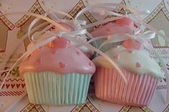 Cupcakes from Renegade Rose (skybluecrayons) Tags: christmas cupcakes ornaments fauxfood lollishops