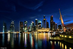 Singapore skyline as seen from the Esplanade. (Reggie Wan) Tags: skyline night evening singapore asia southeastasia esplanade cbd bluehour marinabay theatresbythebay sonya700 reggiewan flickraward5