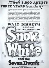 Film ad for Snow White, 1937 (Silverbluestar) Tags: bw film illustration vintage stars 1930s ad disney hollywood movies 1937