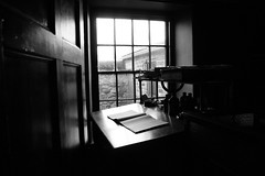 Keep a diary and one day it'll keep you. (Ian McWilliams.) Tags: old blackandwhite window dark desk diary beamish story museam macaz1977 herriatge