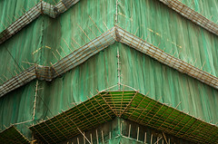 bamboo and old green lace (threecee) Tags: architecture hongkong construction asia bamboo scaffold tracycollinsphotography dsc8274