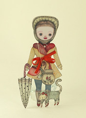 Kiki paper doll (Etsy) (Elsita (Elsa Mora)) Tags: world original red baby colors girl hat childhood illustration ink cat vintage painting paper toy book design miniature doll paint acrylic looking dress drawing antique decorative magic details kitty fantasy imagination