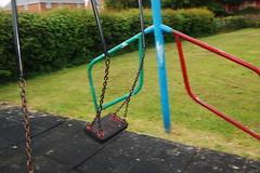 I still remember (mini true) Tags: park motion blur colour home grass childhood playground fun nikon remember shropshire swing nostalgia slowshutter swingset pan blocparty rec d40 recreationground morevivid