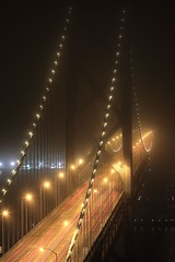 Fog Chasers (A Sutanto) Tags: sf sanfrancisco california ca city longexposure bridge usa fog night lights kaboom baybridge sfbay vanish