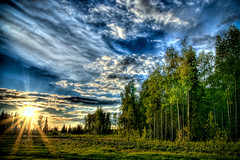 Alaskan Sunset... (harogi) Tags: sunset usa alaska f16 anchorage blueskies sunrays railroadtracks 100iso 17mm tamron1750mmf28 1125sec aplusphoto hdr3exp harogi 3exposureshandeld tdytrip