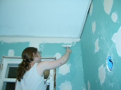 Taping the ceiling (matt31415) Tags: drywall bathroom remodel greenboard