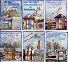Summer Beach Huts S2 - July 2008 (lubsy1uk) Tags: summer stickers beachhuts rubberstamping atcs alteredphotographs