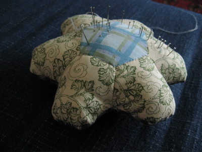flower made into pin cushion