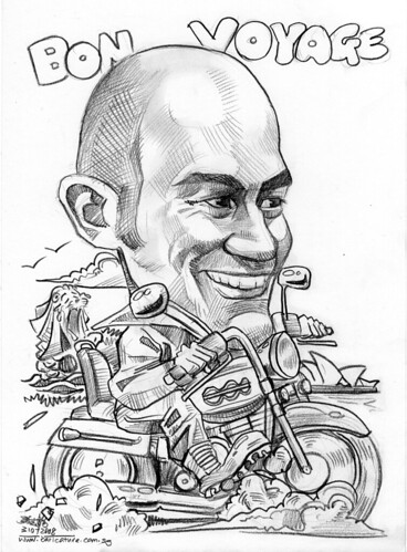 Caricature for IBM Harley Davidson Sydney Opera House Merlion