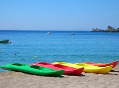Canoes on Lichnos Beach