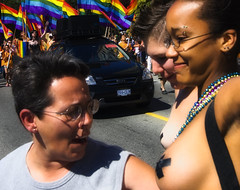 Impressed by Your Beauty. (Robin Thom) Tags: canada vancouver women breasts bc pride parade z gaypride xmarksthespot v1000 electricianstape