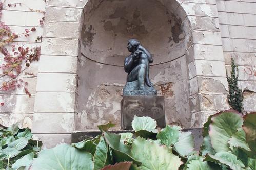 Prague 2002: Brass statue by Jan Štursa, with the pedestal labelled