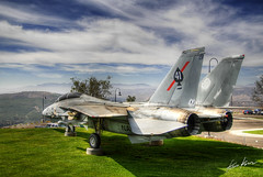 peace through strength (Kris Kros) Tags: california ca usa museum america photoshop plane ronald print photography us high nikon fighter tour force searchthebest dynamic f14 military air united president navy exhibit canvas socal valley reagan kris states d200 naval 2008 range hdr simi available kkg tomcat the cs3 photomatix f14a reaganslibrary kros kriskros 5xp of kk2k kkgallery