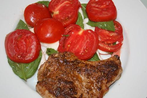 Tuscan Pork Chops and Caprese Salad