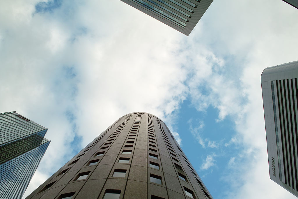 looking up to the sky in the skyscrapers