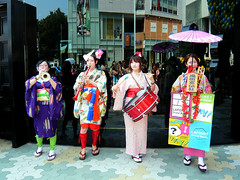 Laforet 'Chindon' Music Band - Harajuku - Tokyo (Stfan) Tags: music girl japan geotagged tokyo concert pub drum ad band event shoppingmall harajuku orchestra japon streetperformance laforet girlband chindon chingdong geo:lat=35668835 geo:lon=139705467