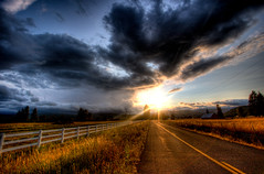 Endless (Squid Vicious) Tags: road sunset white clouds oregon fence vanishingpoint searchthebest canoneos20d hdr canonefs1022mmf3545usm fav10 photomatix