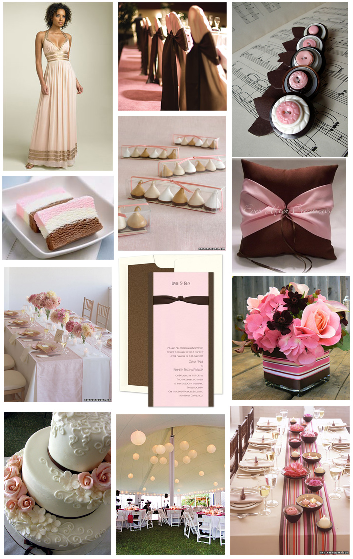 This week, we selected a lovely pink and brown wedding invitation from