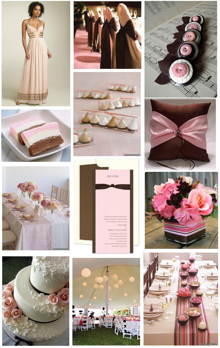 Fotos decoração de casamento rosa e marrom