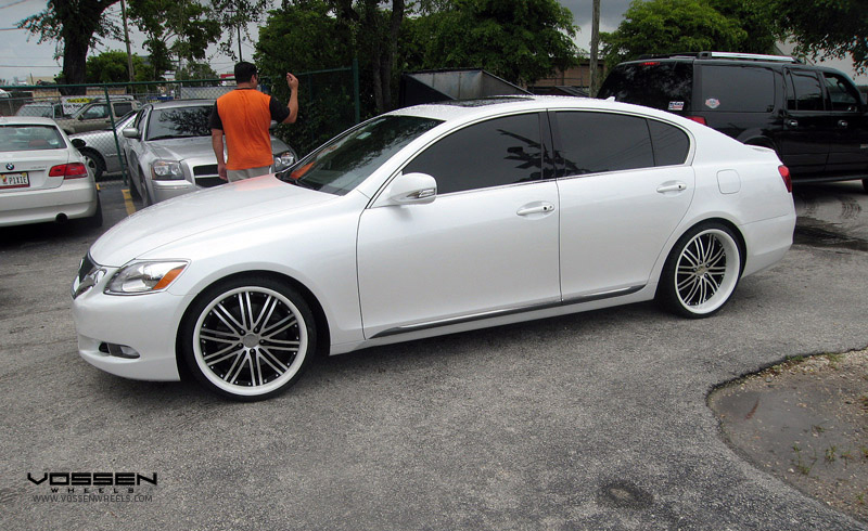 Lexus GS350 on 20 x 9 and 20 x 10.5 Vossen VVS082 Black Machined with a