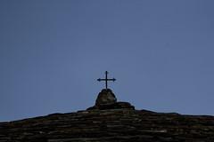Church at Syrako - 20080821_1136ed+cr (Dimitris Papazimouris) Tags: old sky mountain detail church greek village cross traditional greece pindos canon30d canon24105f4 tzoumerka syrako