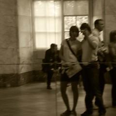 Paris - Louvre (GiuliaC. ) Tags: paris love museum fun mirror us louvre gioconda jeans shorts museo leonardo emotions davide amore noi giulia specchio citt parigi seppia emozioni muse