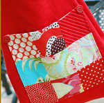 Red Organic LInen Nine-Patch Tote
